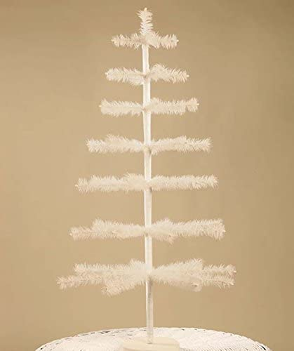 Bethany Lowe 36 Ivory Tea Stained Feather Christmas Tabletop Tree LG9306