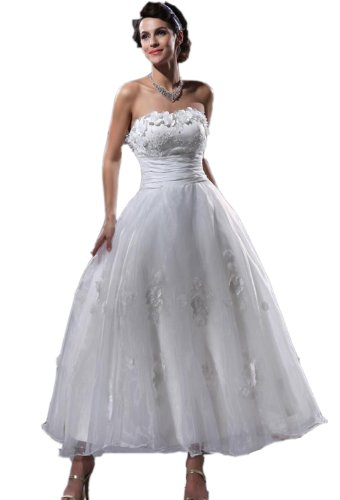 Length Taffeta Wedding Dresses (Albizia Yarn Applique Beaded Taffeta Strapless Ankle Length Wedding Dresses(18,White))