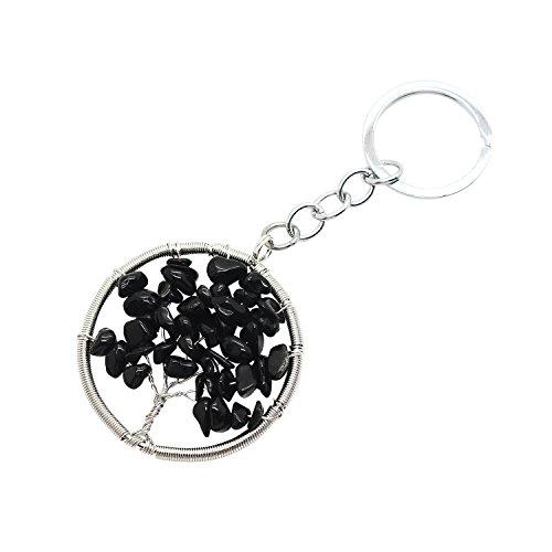 JoyaGift Charm Black Onyx Tree of Life Natural Crystal Stone Handmade DIY Multicolored Gravel Circle Keyring Pendant Necklace Onyx Keychain