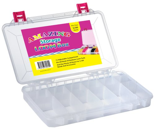 """UPC 820103795791, Official Amazing Loom Bands """"Green"""" Loom Kit Clear Storage Organizer Case,for Rainbow Loom, Adjustable Compartments, Holds Bands & Bracelet Making Accessories! [Holds up to 7,200 Rubber Bands!]"""
