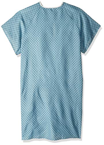 pivit Reusable Hospital Gown for Men & Women | Fits All Adults Up to 2XL | Blue with Black Print | Neck & Waist Back Tie | Soft Cotton Medical Gowns for Patient Exams, Maternity, Labor and Delivery