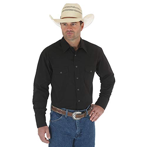 Wrangler Men's Sport Western Snap shirt, Black, Large (Western Show Shirts Men)