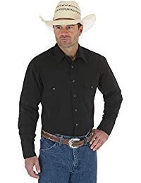 Men's Sport Western Basic Two Pocket Long Sleeve Snap Shirt