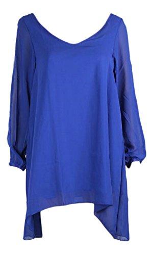 Cruiize Womens Classic Chiffon Long Sleeve Irregular Dress T-Shirts Tops Royal Blue Large