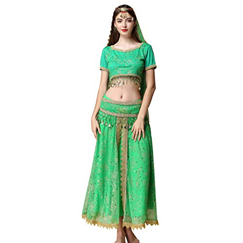 Women's Belly Dance Chiffon Bollywood Costume Indian Dance Outfit Halloween Costumes with Coins 5 Pieces Sets (Free Size, Green) -