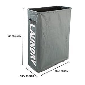 "Caroeas 22"" Rolling Slim Laundry Basket with Stand Foldable Waterproof Sorter and Organizer on Wheels Tall Thin Dirty Laundry Hamper Basket Home Corner Bin (Grey)"