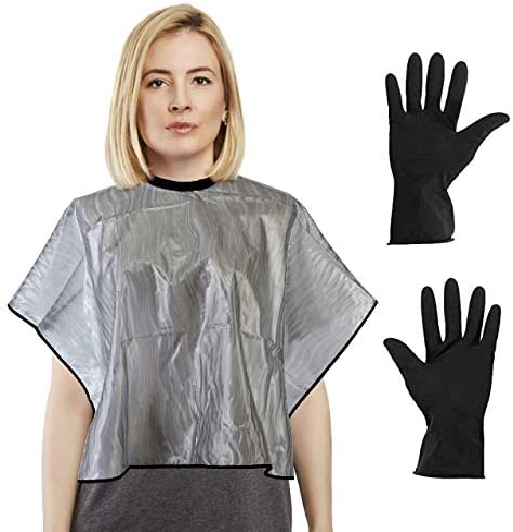 CCbeautyCCbeauty - Juego de capa de pelo corto y guantes reutilizables, capas impermeables para cortar, peinar, colorear, champú de belleza, ...