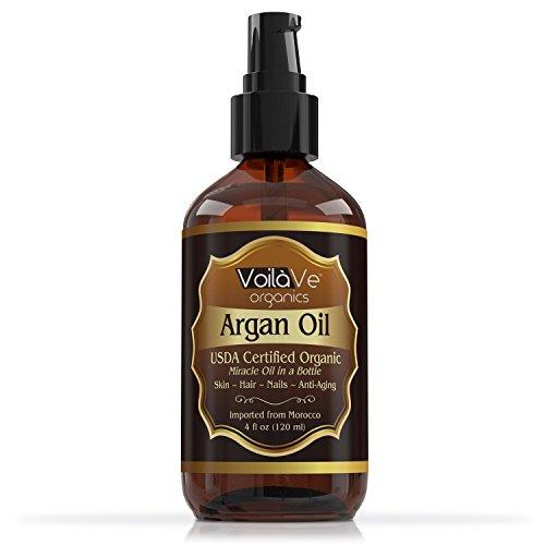 Review Virgin USDA Organic Moroccan Argan Oil for Hair & Skin, 4 fl. oz. USDA & ECOCERT Certified, Cold-Pressed, Unrefined 100% Pure Argan Oil for Skin, Hair & Nails – Convenient Pump Bottle