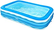 Sable Inflatable Pool, 118 x 72.5 x 20in Rectangular Swimming Pool for Toddlers, Kids, Family, Above Ground, B