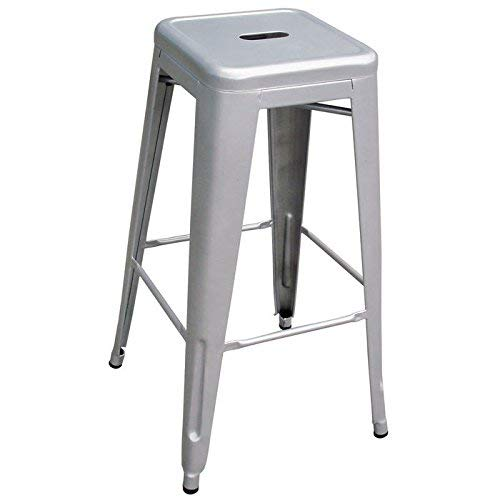 AmeriHome Metal Bar Stool Set, 30-Inch, Silver, Set of 4 from AmeriHome