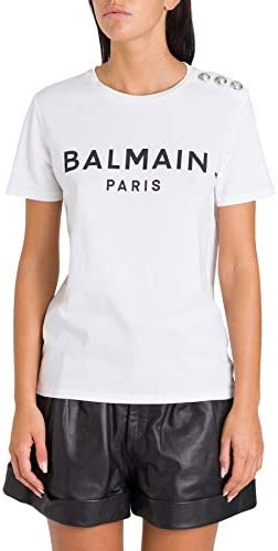 Balmain Fashion Woman TF01350I415GAB White Cotton T-Shirt | Spring Summer 20
