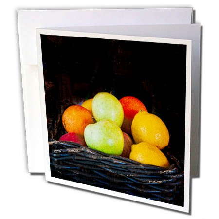 3dRose Alexis Photography - Food Fruit Mix - Apples, oranges, lemons in a wicker basket. Stylized photo - 6 Greeting Cards with envelopes (gc_272126_1) (Thank You Note For Fruit Basket)