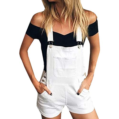 Wadonerful Price!Women's Bib Overall Denim Shorts Romper Casual Loose Fit Walkshort Button Summer Jeans Jumpersuit