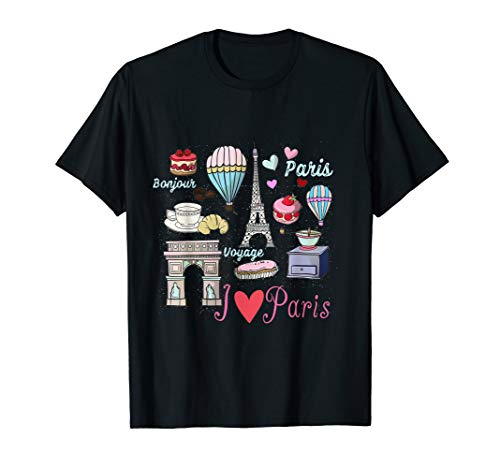 Bonjour Voyage I love Paris Eiffel Tower French Traditions  T-Shirt