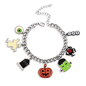 LPON Halloween Bracelet Necklace Set Spider Pumpkin Frankenstein Bat Tombstone Boo Eyes Jewelry Set for Women Girls