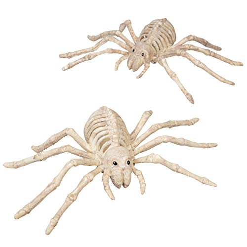 SCS Direct Halloween Skeleton Spider Decorations 10 (Set of 2)- Weatherproof Indoor/Outdoor Realistic Spider Bones Prop