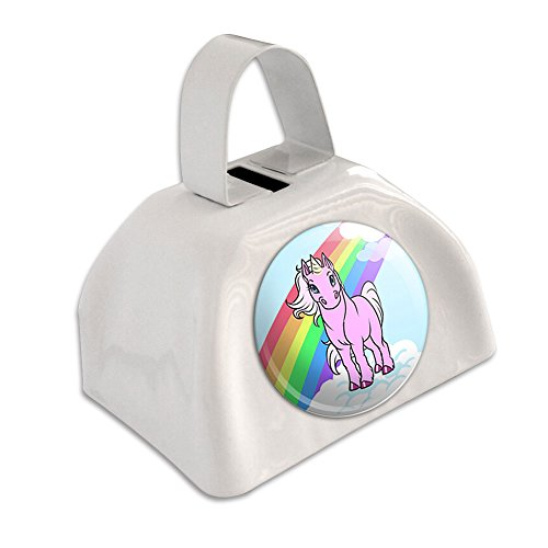 Unicorn Pony Rainbow Pink White Cowbell Cow Bell ()