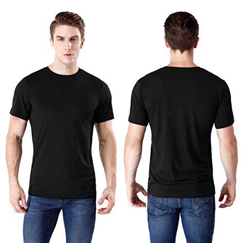 wirarpa Mens Tagless Soft Crew Neck Jersey Cotton T-Shirts Solid Black Short Sleeve, XXL