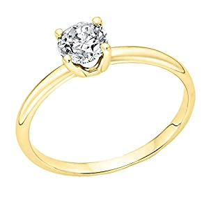 IGI Certified 14k yellow-gold Round Cut Diamond Engagement Ring (0.70 cttw, I Color, VS2 Clarity) - size 6.5