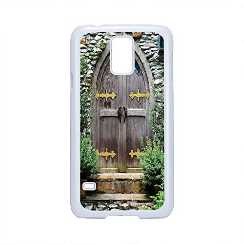 Cell Phone Case Compatible Samsung Galaxy S5,Rustic - Hard Plastic Phone Case/White - Unique Castle Traditional Middle Age Heritage Fairy Doorway Aged Entrance ()