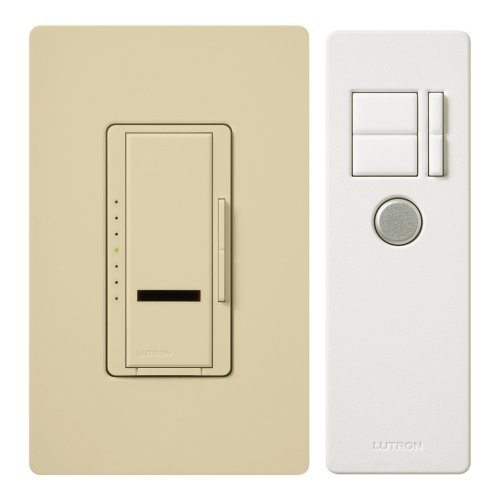 Lutron Maestro IR Dimmer Switch for Incandescent and Halogen Bulbs, Single-Pole or 3-Way, with IR Remote Control and Wallplate, MIR-603THW-IV, Ivory