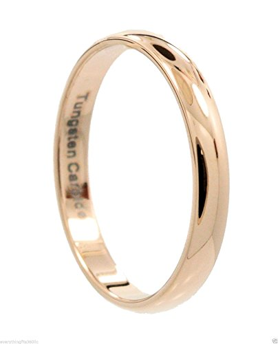 3mm Thin Rose Gold Plated Ring Tungsten Carbide Wedding Band