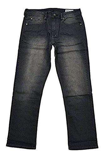 (Buffalo David Bitton Mens Driven-X Basic Straight Stretch Jeans With Black Patch (34x30, Grey))