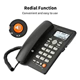 Desktop Corded Telephone with Caller ID Display, DTMF/FSK Dual System, Wired Landline Phone