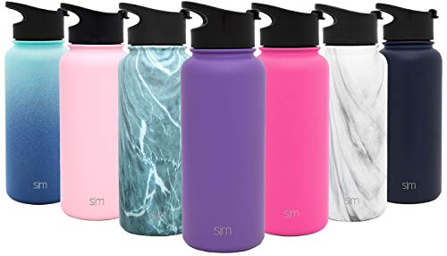 Simple Modern 32oz Summit Water Bottle + Extra Lid – Vacuum Insulated Stainless Steel Wide Mouth Liter Hydro Travel Mug – Powder Coated Metal Flask – Lilac Purple