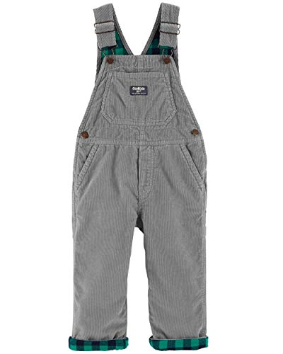(Osh Kosh Baby Boys' Toddler World's Best Overalls, Grey Corduroy, 5T)
