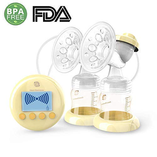 Gland USA - P25 Premier Double Electric Breast Pump. CE and FDA Approved Breastfeeding Breast Pump Dual of Germany PPSU Ultra-Quiet Powerful 9 Levels Massage Suction. HD LCD Display.