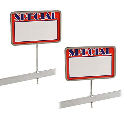 "Universal Retail Rack Chrome Frame Clamp On 7"" x 11"" Sign Holder Card Display, 11"" H, 5 Pack"