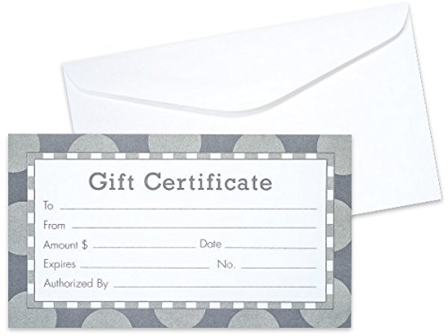 Pack of 100, Solid Silver & Gray Gift Certificate w/White Envelopes Made In USA by Generic