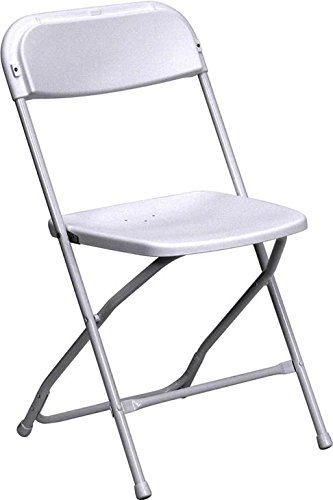 White Poly Plastic Heavy Duty 250-Pound Capacity Stackable Folding Event, Banquet, and Wedding Chairs (10-Pack)