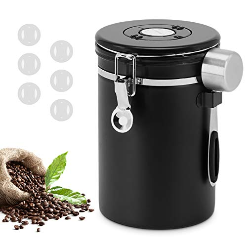 Canister Coffee Airtight Stainless Steel Coffee Storage Container Coffee Ground Storage Container with Scoop Date…