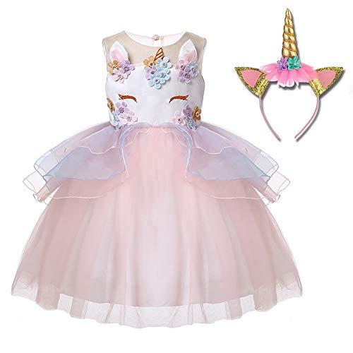 Freeprance Unicorn Costume Unicorn Party Dresses Princess Costumes for Girls 02_XCH_130 ()