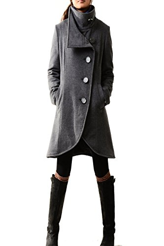 Women's Crystal Buttoned Cashmere Coat Dark Grey by jeanie's lifestyle