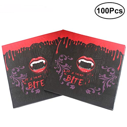 Amosfun 100pcs Halloween Printed Napkins Disposable Tissue Bloody Red Lip Teeth Pattern Theme Party Napkins Supplies by Amosfun (Image #7)