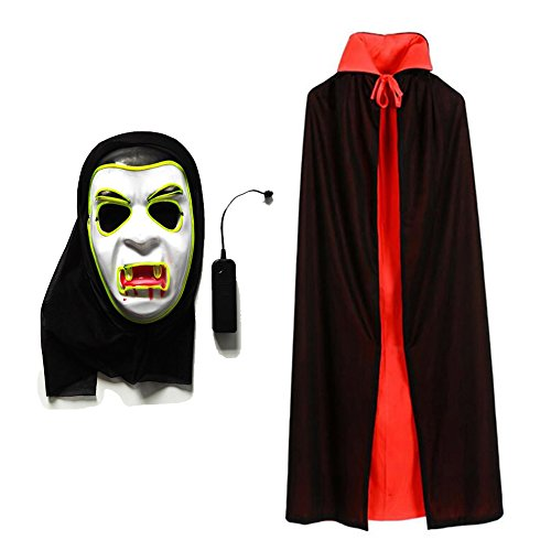 Baby Led Halloween Costume (Halloween Vampire Led Mask and Double Face Black and Red Robe Cloak Cosplay Costume Perfect for Halloween,Cosplay Party)