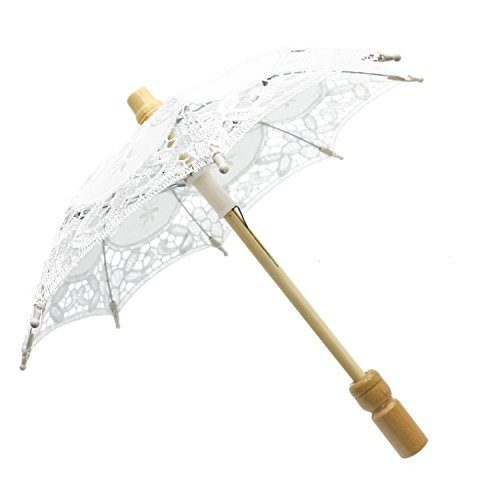 Buorsa 12'' Mini Vintage Wood Embroidery Pure Cotton Lace Umbrella Wedding Umbrella So Small for Wedding Gift Photo Props Kids -