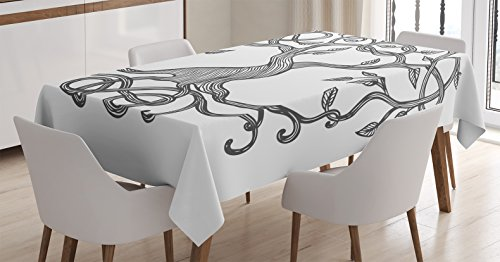 Ambesonne Celtic Decor Tablecloth, Sketchy Figure of a Single Celtic Tree of Life with Swirly Long Branches and Roots Print, Dining Room Kitchen Rectangular Table Cover, 60 X 84 inches, Black White (Celtic Wedding Decorations)