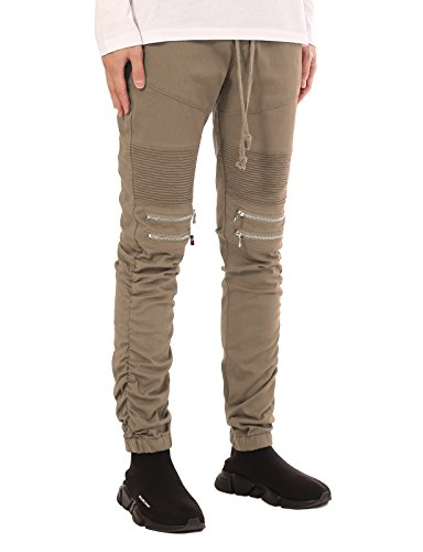 JD Apparel Mens Slim Fit Distressed Biker Motor Joggers Pant