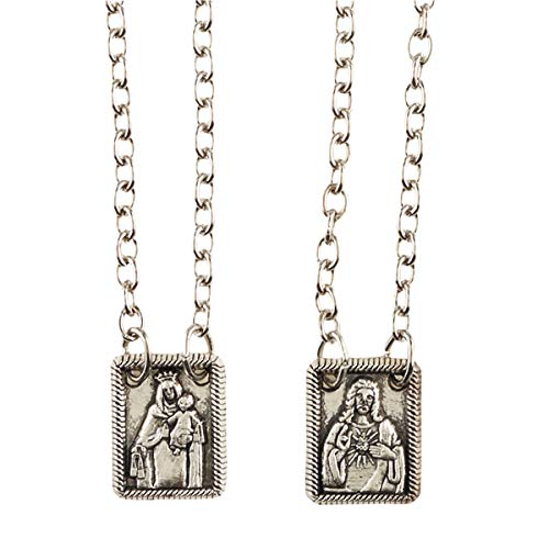 Antique Finish Silver Toned Scapular Medal with Card, 25 Inch
