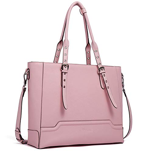 BOSTANTEN Women Briefcase Leather Laptop Shoulder Handbag Fit Up to 15.6 inch Tote Work Purses Cross-Body Bag Pink