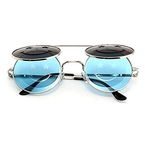 6a60546ba7d73f Métal Frame Flip-up lunettes de soleil pour hommes femmes hibote Steampunk  Round Lens C5 ...