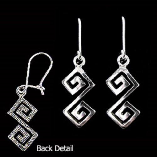 Ancient Greek Sterling Silver Hook Earrings - Handcrafted Double Greek Key Motif Links (38mm)