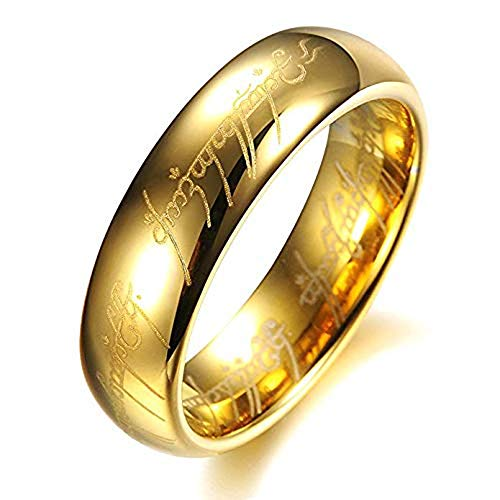 AMSENC The One Ring Lord The Rings Style Tungsten Ring Gold Color Lord Rings Laser Etched (Gold, 10)