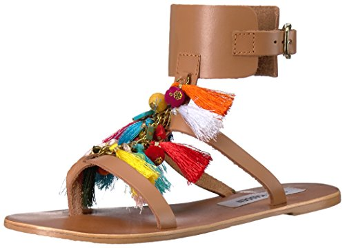 Boho-Chic Vacation & Fall Looks - Standard & Plus Size Styless - Steve Madden Women's Colorful Flat Sandal, Cognac Multi, 9.5 M US