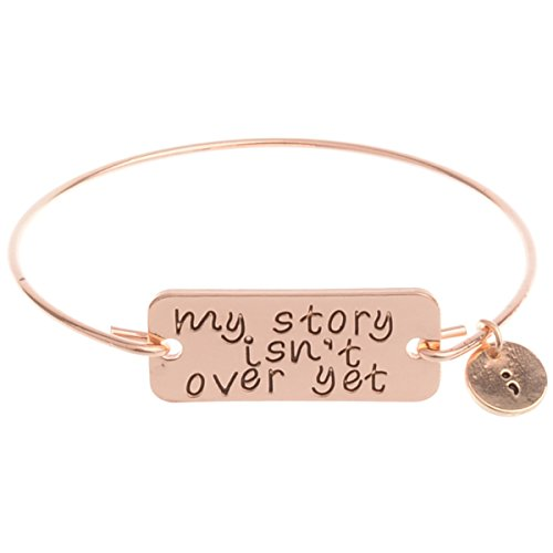 UNKE Valentines Day Gift Couples Inspirational Letter Cuff Bangle Jewelry my story isnt over yet Bracelet Bangle for Womens