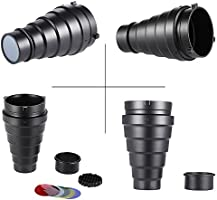 Andoer Metal Conical Snoot Kit with Honeycomb Grid and 5pcs Color Gel Filter for Bowens Mount Studio Strobe Monolight Photography Flash Light